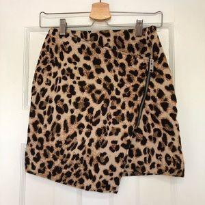 Leopard Print Crossover Mini Skirt, Size 2
